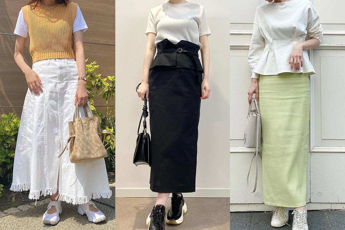 【コーデ10選】ロングスカートはスニーカーで合わせるのが大人っぽい