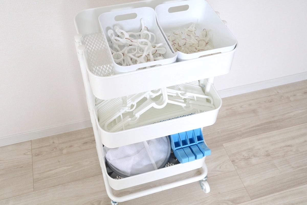 IKEAのワゴン「ロースコグ」に洗濯用品を収納