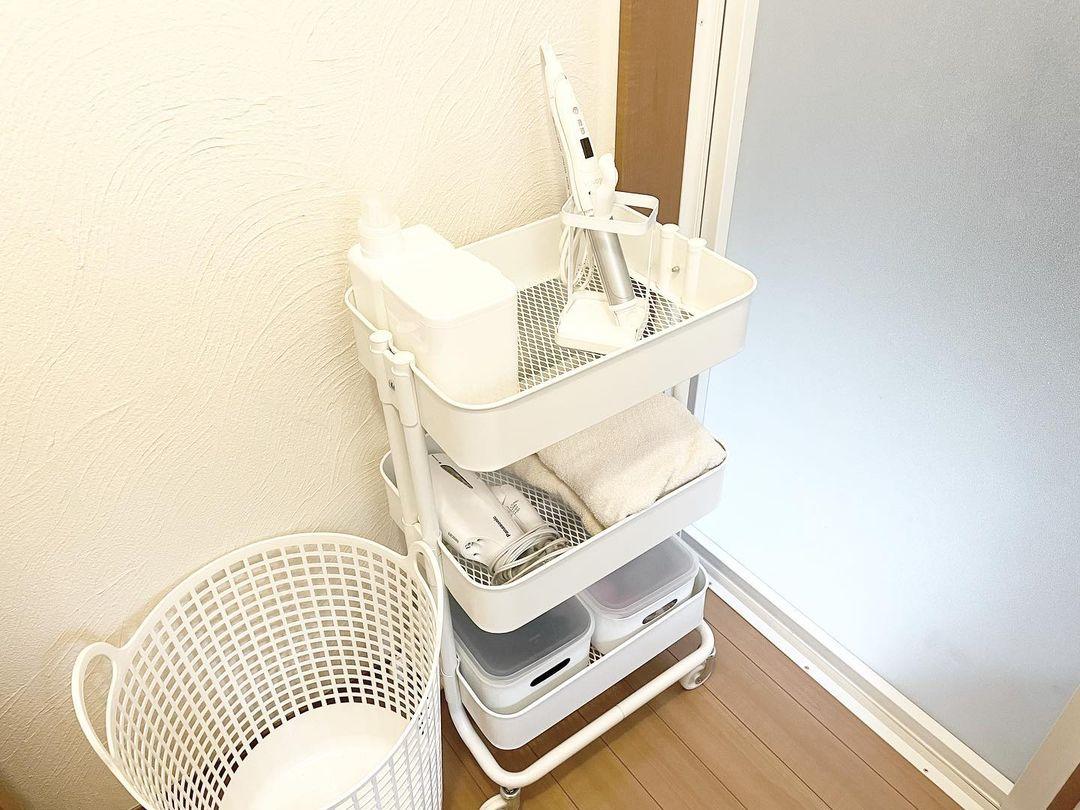 IKEAのワゴンを洗面所で活用