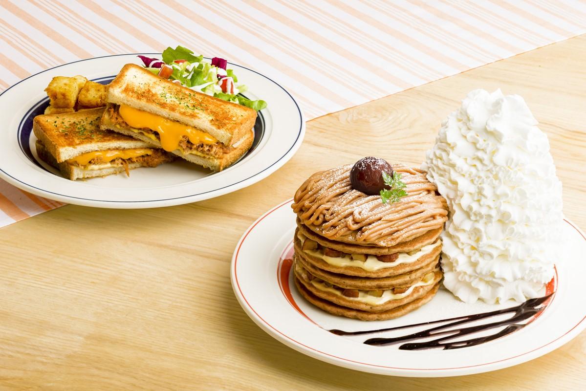【エッグスンシングス】モンブランパンケーキとホットサンドが今年も登場!