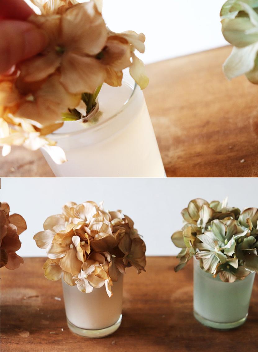 キャンドルに造花を差し込む
